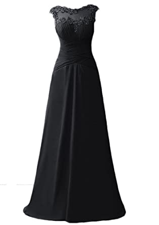 WAWALI Scoop Neck Straps Lace Evening Dresses Party Prom Gowns 2 Black