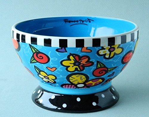 Romero Britto Ceramic Ice Cream Bowl — Flowers ()