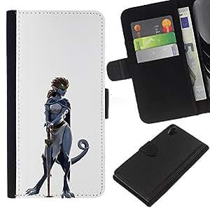 YiPhone /// Tirón de la caja Cartera de cuero con ranuras para tarjetas - Dinosaurio mujer del guerrero - Sony Xperia Z2 D6502