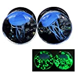 glow in the dark 0 gauge plugs - Lianrun 1Pair Luminous Blue Jellyfish Ear Plugs Expander Tunnels Stretcher Size 0g