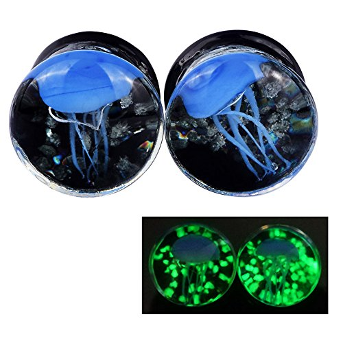 Lianrun 1Pair Luminous Blue Jellyfish Ear Plugs Expander Tunnels Stretcher Size 1/2