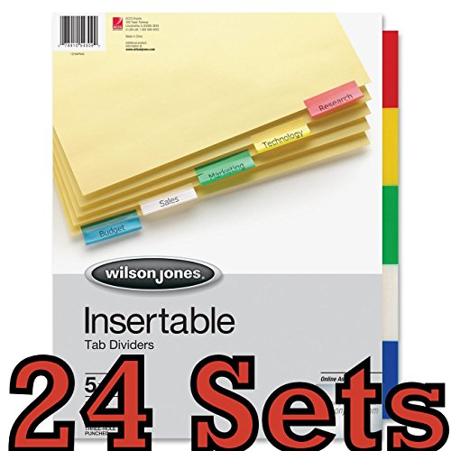 24 sets Wilson Jones Tab Dividers, Insertable, Multicolor Tabs, 5-Tabs, 6 Sets (W54309A)