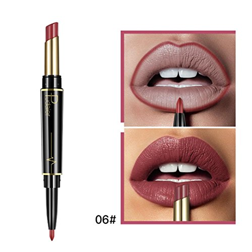LtrottedJ Double-end Lasting Lipliner, Waterproof Lip Liner Stick Pencil 16 Color (F)