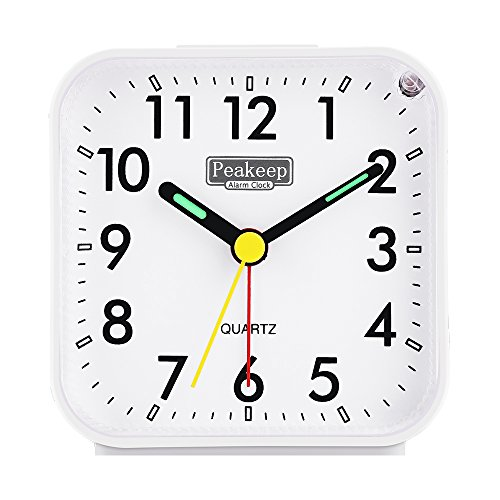 Peakeep Small Battery Operated Analog Travel Alarm Clock Silent No Ticking, Lighted on Demand and Snooze, Beep Sounds, Gentle Wake, Ascending Alarm, Easy Set (White)
