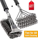 BBQ Grill Brush Set of 2, Safe Grill Cleaning Brush Stainless Steel Bristle Free with Scraper for Porcelain, Cast Iron, Stainless Steel, Ceramic Grill Grate Cooking Grid, 18' Grill Tools Accessories