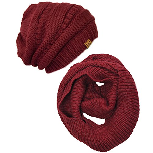 Wrapables Winter Warm Knitted Infinity Scarf and Beanie Hat Set, - Pattern Set Scarf