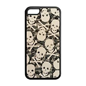 5C Phone Cases, Army Camo Skull Hard TPU Rubber Cover Case for iPhone 5C