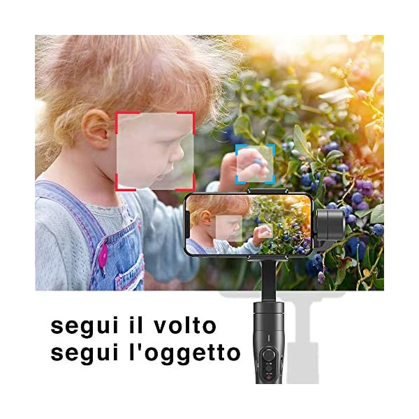 FeiyuTech Vimble 2S - Stabilizzatore cardanico portatile estensibile a 3 assi per smartphone,Iphone/Samsung/Xiao Mi/Huawei, nero scuro 3 spesavip