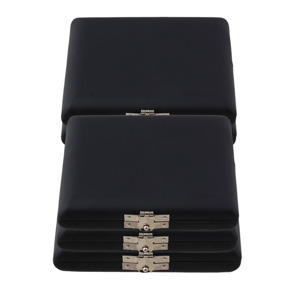Mxfans 9.2x7.8x2cm PU Leather Oboe Reed Case Holder for 6 Reeds Black Pack of 5