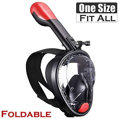 TriMagic Full Face Snorkel Mask, 180° Panoramic View Snorkeling Mask Set, Easy Breath, Anti-Fog, Anti-Leak, with Detachable for Camera Mount (Black)