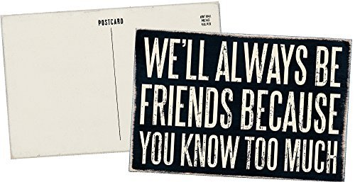 We'll Always Be Friends Because You Know Too Much - Mailable Wooden Greeting Card for Birthdays, Anniversaries, Weddings, and Special Occasions (Be A Best Friend)
