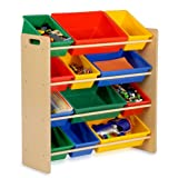 Honey-Can-Do SRT-01602 Kids Toy Organizer and Storage Bins, Natural/Primary (Kitchen)