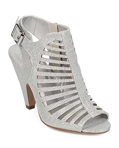 Delicious EF31 Women Glitter Peep Toe Slit Single Sole Slingback Bootie Sandal - Silver