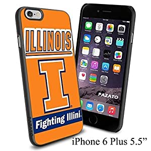 """NCAA I ILLINOIS FIGHTING ILLINI , Cool iPhone 6 Plus (6+ , 5.5"""") Smartphone Case Cover Collector iphone TPU Rubber Case Black by runtopwell"""