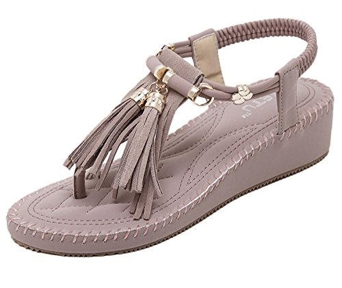 US Chickle Women's 8 Tassel Purple Sandal Wedge YA1Yqw