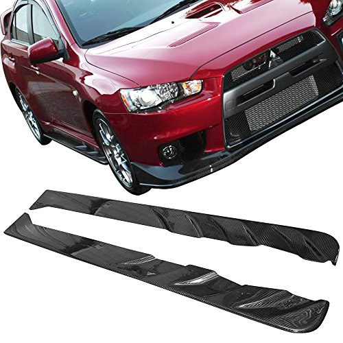 4 Side Evo Skirts (Side Skirts Fits 2008-2016 Mitsubishi Lancer Evolution EVO X 10 | JUN Style Carbon Fiber CF Side Extension Chin Protector by IKON MOTORSPORTS | 2009 2010 2011 2012 2013 2014 2015)