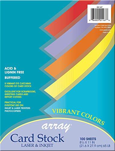 Pacon Card Stock, Vibrant Assortment, 5 Colors,  8-1/2