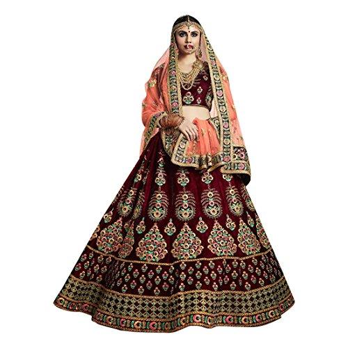 Cotton Chaniya Cholis (Velvet Bridal Wedding Designer Bollywood Women Lehenga Choli Dupatta Ceremony Chaniya Choli Collection 721 5)