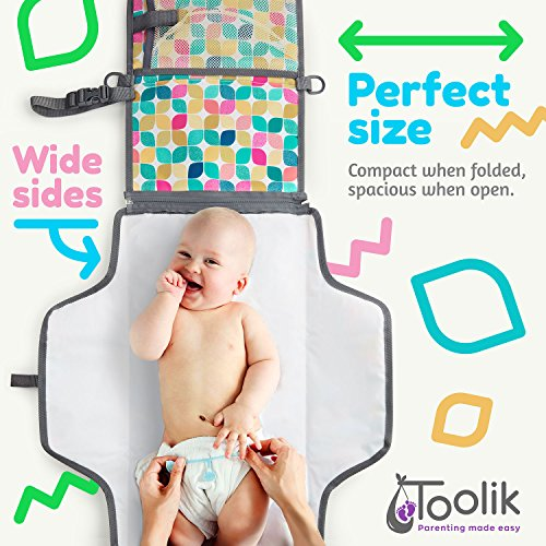 Toolik Baby Diaper Clutch with Waterproof Portable Changing Pad for Quick Change During Stroller Walks - Foldable, Detachable and Wipeable Mat Station with Shoulder Strap, Vintage