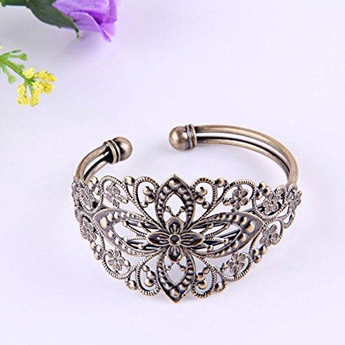 Ecloud ShopUS® Vintage Bronze Brass Flower Filigree Cuff Bangle Bracelet 35x65mm CHIC