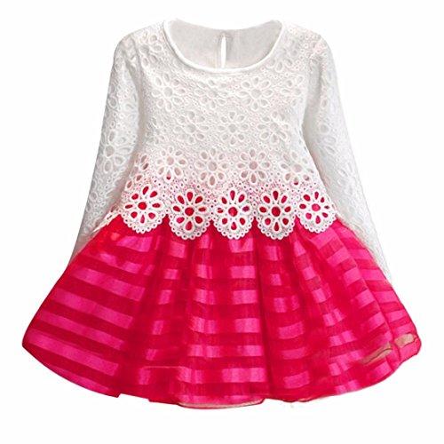 Saingace Mädchen Langarm-Prinzessin-Kleid hohle Blumen-Mädchen-Kleid (140, Hot Pink)