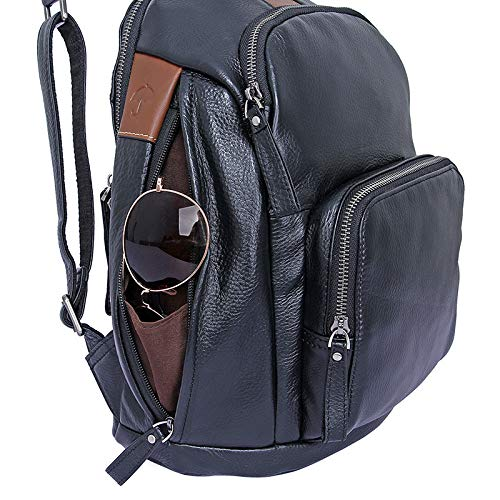 Color : Black, Size : M XINXI-MAO Mens Backpacks Joker Backpacks Headphone Jack Shoulder Leather Bags Unisex