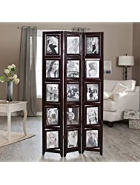 Memories Double Sided Photo Frame Room Divider   Rosewood 3 Panel   8 X 10