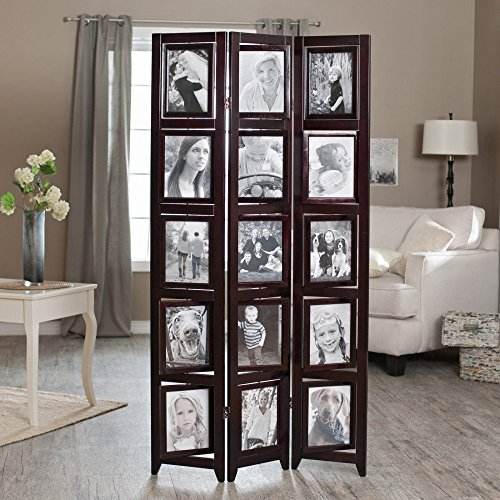 Memories Double Sided Photo Frame Room Divider - Rosewood 3 Panel - 8 x 10 by Finley Home
