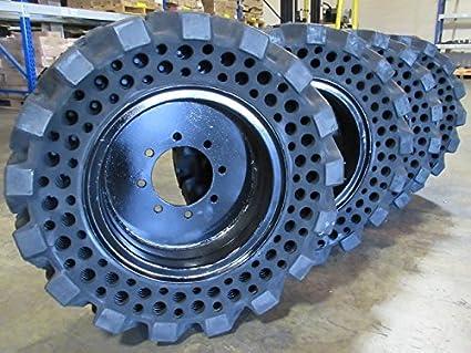 Inexpensive Economy Line of Summit Flat Proof 10 X 16.5 Skid Steer Tires w/ Rims Cat Deere Bobcat Gehl Solid