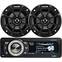 Aquatic AV Bundle of 2 Items AQ-MP-5UBT-HS Digital Media Receiver w/Dock with Kicker 40PS42 4 PowerSports Series 2-Way Speakers