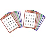 Dry Erase Pockets Sleeves, Penck Write and Wipe Reusable Plastic Sheet Protectors For Classroom Teaching Supplies, 9 x 12 Inches, Assorted Colors(12-Pack)