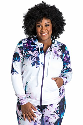 Poetic Justice Plus Size Women's Curvy Fit Active Zip-up Floral Print Poly Tricot Hoodie Size 1X by Poetic Justice
