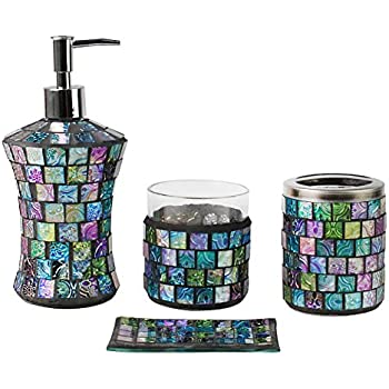 SkyMoving Luxury Bathroom Accessories set  4 Piece Mosaic Glass Gift Set Amazon com