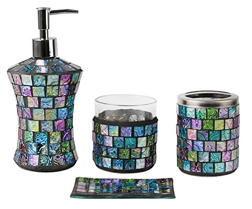 luxury bathroom accessories set 4 piece mosaic glass luxury bathroom gift set includes soap dispenser toothbrush holder tumbler soap dish green by