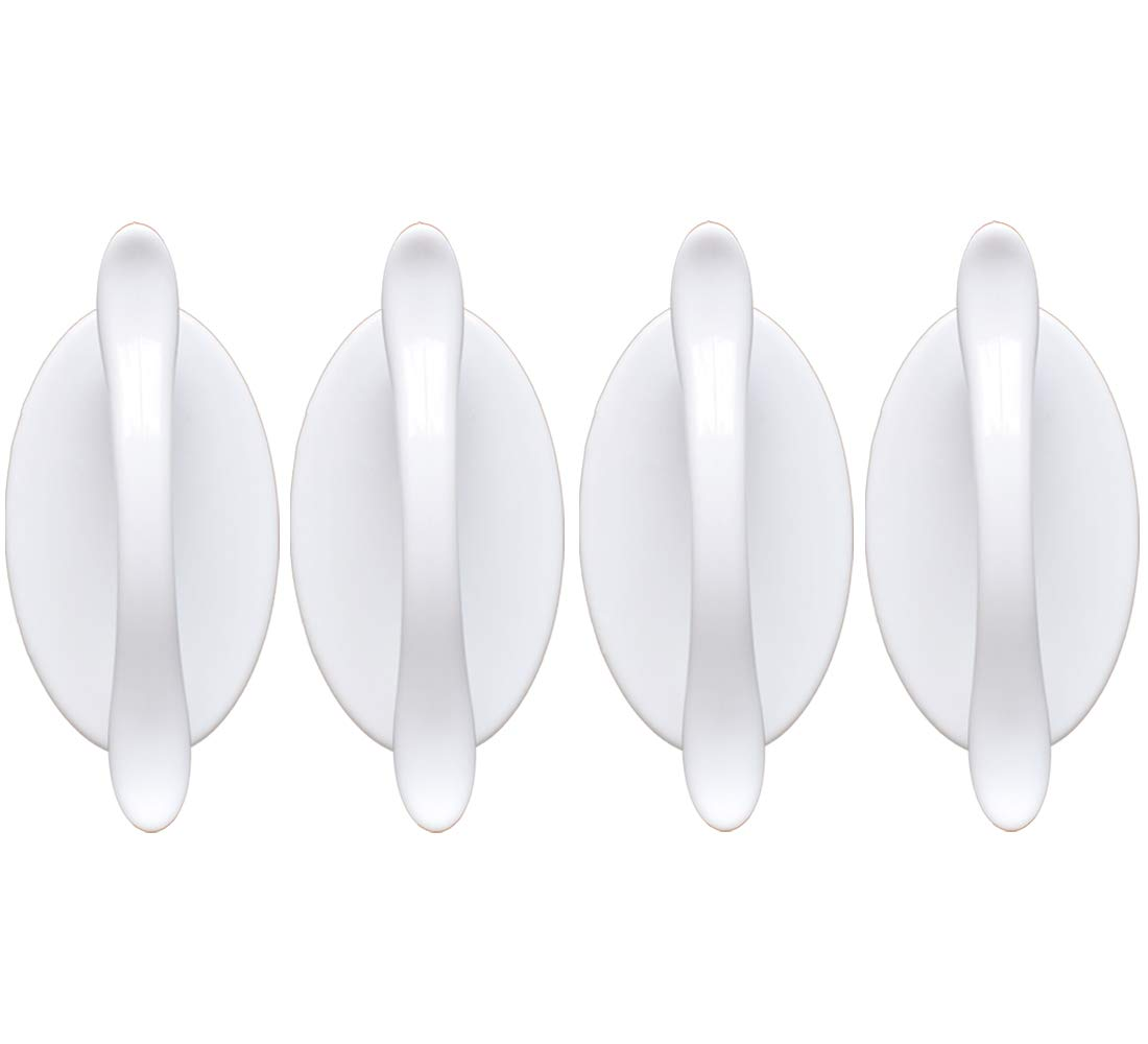 Stick on Knobs for Bathroom Mirror Doors Peel and Stick Cabinet Handles Without Drill 4 pcs White Self-Adhesive Handles for Sliding Door