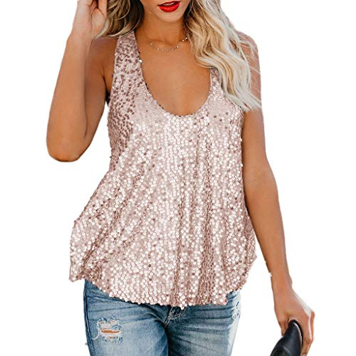- Amiliashp Women's Sexy Sequin Embellished Raceback Sleeveless Metallic Shimmer Party Tank Top Camisole Vest Tops