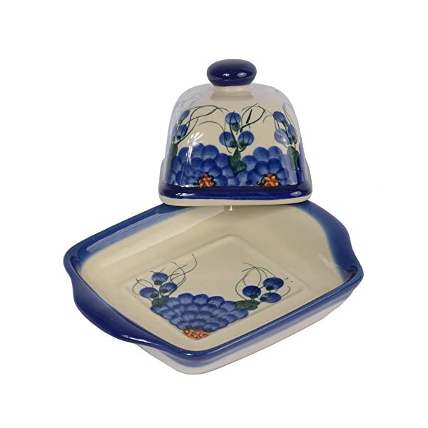 Traditional Polish Pottery, Handcrafted Ceramic Butter Dish with Lid (weight 580g / 20.5oz), Boleslawiec Style Pattern, B.102.ARTS