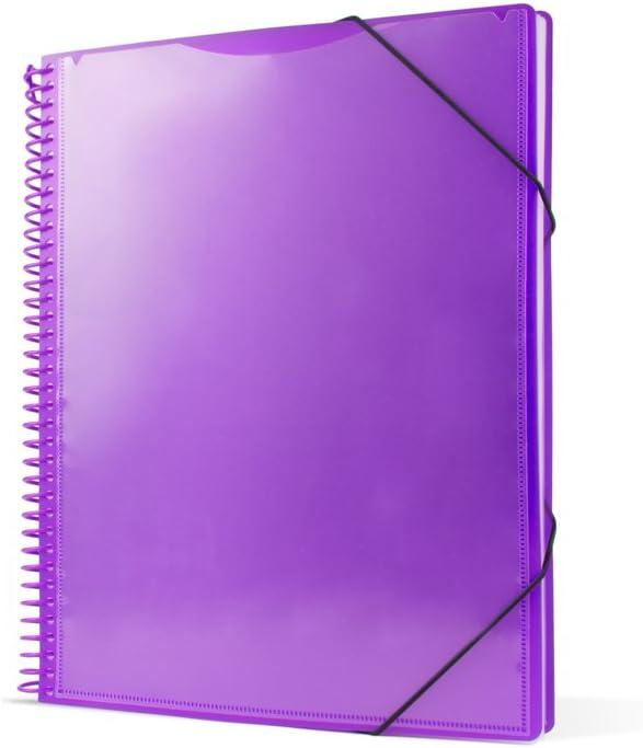 Pryse 4240056 - Carpeta espiral con 50 fundas, A4, color lila