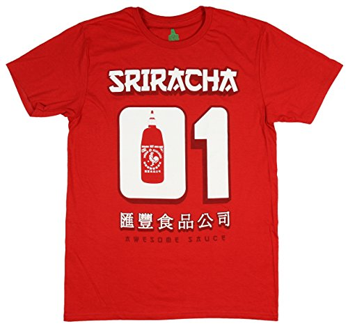 Sriracha Mens Hot Chili Awesome Sauce Number #1 01 Jersey T-Shirt (X-Large)