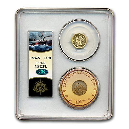 1856 S $2.50 Liberty Gold Quarter Eagle MS-62 PCGS CAC (PL, C Am) Quarter MS-62 PCGS