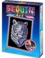 MAMMUT 8041217 - Sequin Art cekiny, biały tygrys, obraz wtykowy, zestaw do majsterkowania z ramą ze styropianu, aksamitny szablon obrazów, cekiny, szpilki, instrukcja, dla dzieci od 8 lat