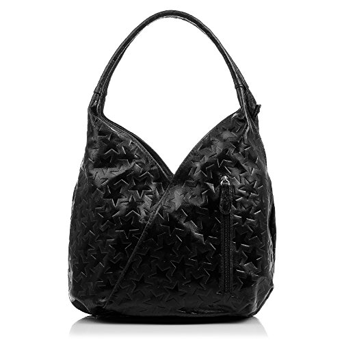 Embossed Italy Leather Handbag lacquered nbsp;cm and Genuine artegiani Geometric in Italian Women's nbsp;x Bag Vera Pelle Made Bag Reason Bl 33 Twisted 18 Firenze Colour Genuine with Shopping Leather nbsp;x Oscuro 33 Negro HqvfY