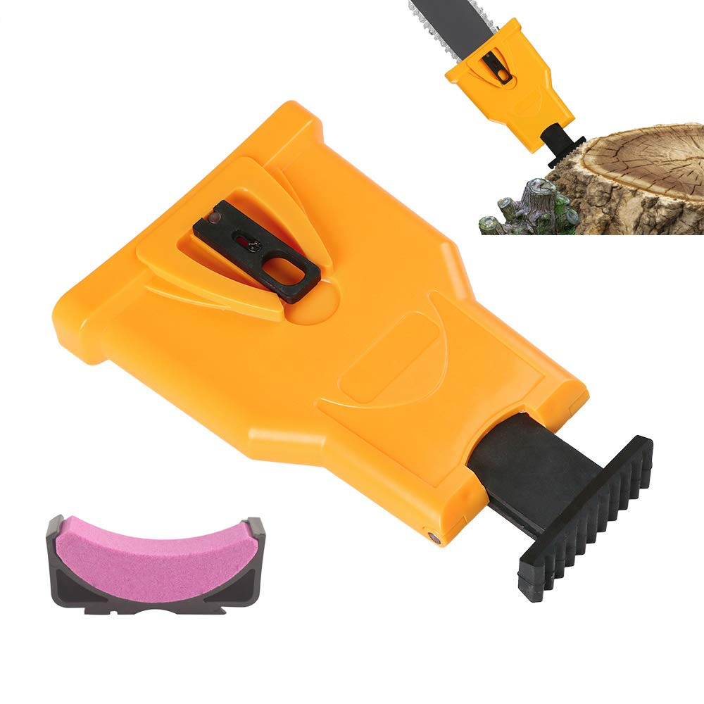 WREOW Chainsaw Sharpener Portable Proprietary Bar-Mount Chain Saw Sharpening Tool Fast-Sharpening Stone Grinder Tool Compatible with 14-20 Inch Chian Saw with Two Holes by WREOW