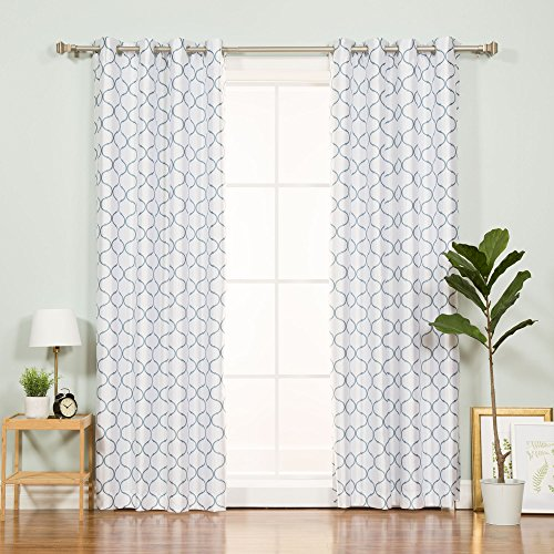 Best Home Fashion Reverse Quatrefoil Print Faux Silk Blackout Curtain - Stainless Steel Nickel Grommet Top - Lagoon - 52