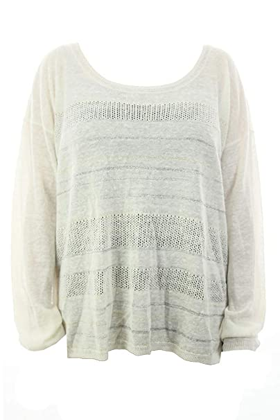 c3fa231042 DKNY Jeans White Mixed Knit Stripe Shine Scoop Neck Pullover XL at ...