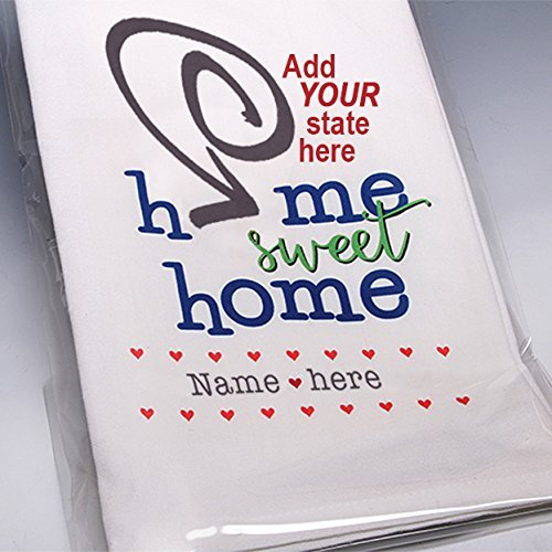 Personalized hand-printed Home Sweet Home towel ~ Add color to your kitchen with this whimsical, customized 100% cotton towel