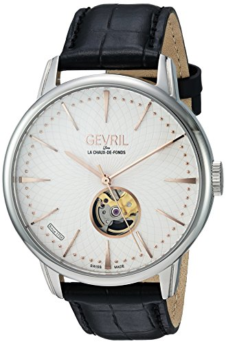 Gevril Mulberry Mens Open Heart Swiss Automatic Black Leather Strap Watch, (Model: 9601)
