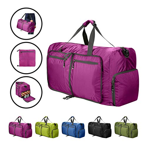 80L Duffle Bag Foldable Waterproof Large Lightweight Luggage Bag with Shoe Compartment for Camping,Gym,Travel - Luggage Waterproof Rolling