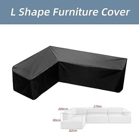 laamei Fundas para Muebles de Jardín Cubierta Ptrotectora Impermeable del Sofá en Forma de L al