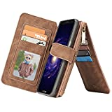 Sammid Galaxy S8 Wallet Case, PU Leather Protective Case Cover with Card Slots and Stand Function for Galaxy S8 - Light Brown